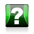 question mark black and green square web glossy icon
