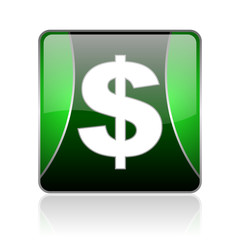 us dollar black and green square web glossy icon