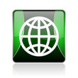 earth black and green square web glossy icon