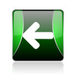 arrow left black and green square web glossy icon