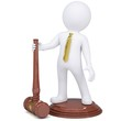 3d white man with judicial hammer