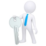 3d white man holding metal key