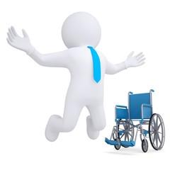 3d white man got rid of the wheelchair