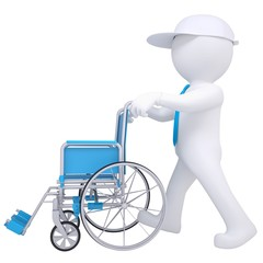 3d white man holding a wheelchair
