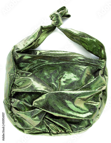 Green crackle iridescent metallized leather purse