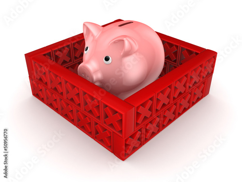 Pink piggy bank behind a wall of red cross marks.