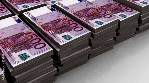 Stacks of euro 500 banknote (loop)