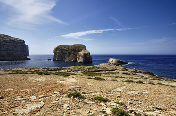 Malta Island, Gozo, Dweira, view of the rocky coastline