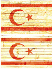 Vintage wall flag of Turkish Republic of Northern Cyprus