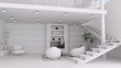 Modern white living room interior animation