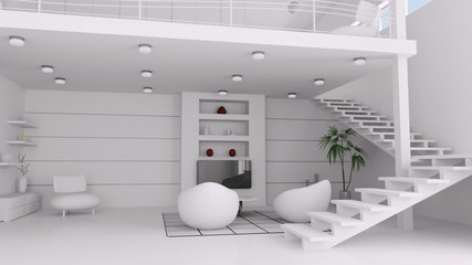 Modern white living room interior animation