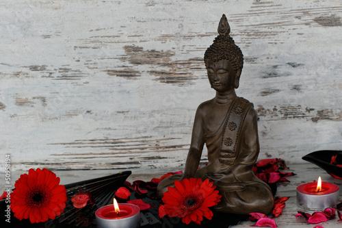 Fototapeten,buddhas,buddhismus,kerze,teelicht