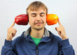happy man listening whisper vegetables