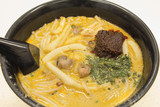 Singapore Curry Laksa Noodles Closeup