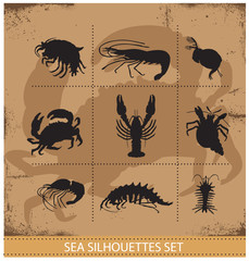 lobsters and crabs vector silhouettes signs