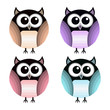 Vector set of different owls