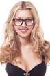 portrait of blond woman in glasses
