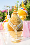 golden tray with pedestal on Thai ceremony occasion