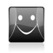 smile black square web glossy icon