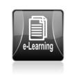 e-learning black square web glossy icon