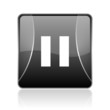 pause black square web glossy icon
