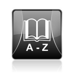 dictionary black square web glossy icon