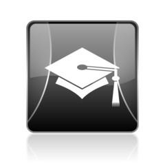 graduation black square web glossy icon