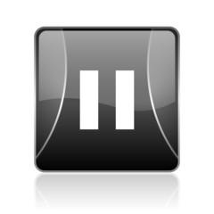 pause black square web glossy icon