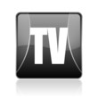 tv black square web glossy icon