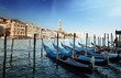Gondolas on Grand Canal and St Marks Tower