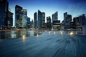 Miasto Singapur w zachód słońca