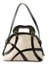 Black and white patent leather straps tote