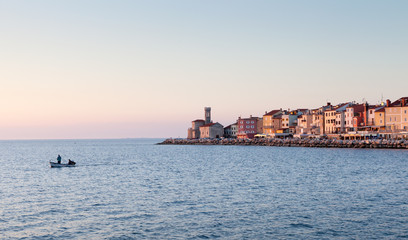 Cityscape of Piran at sunset, Slovenia, Europe