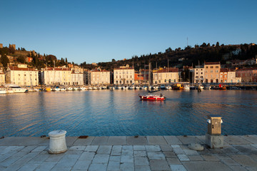 Harbour in Piran at sunset, Slovenia, Europe