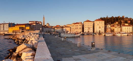 Panoramic view of cityscape Piran, Slovenia, Europe