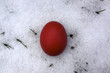 Rotes Osterei verstecken im Schnee