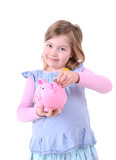 little girl piggy bank