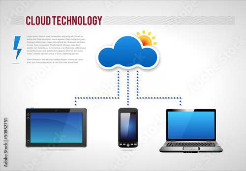 Cloud Technology Presentation Diagram Template Vector