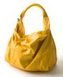 Big yellow leather handbag
