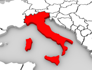 Italy 3d Abstract Map Central Europe Nation