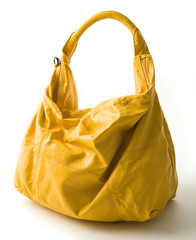 Big yellow leather handbag
