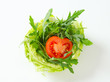 Rocket salad in lettuce bowl