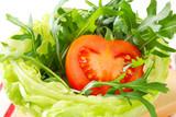Rocket salad in lettuce bowl