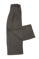 Pinstriped grey elephant pants with ornated details