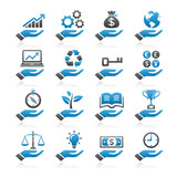 Hand concept color icons. vector eps 10