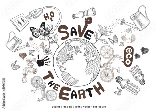 Green world drawing concept. Save the earth. Ecology doodles