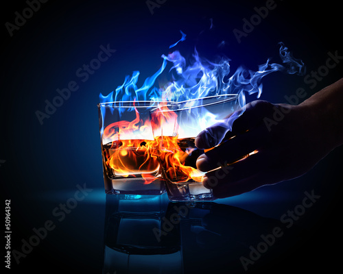 canvas print picture Two glasses of burning absinthe