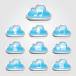 Cloud technology buttons and icons set. Vector illustration
