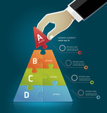 Businessman hand making a pyramid business strategy diagram puzz