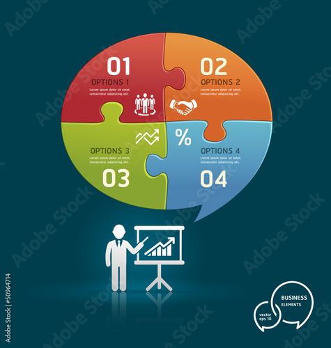Businessman icons presentation with speech bubble puzzle number